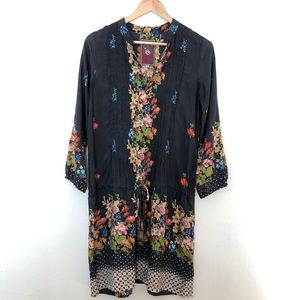 Boho chic‼️ Johnny Was 100%silk dress floral multi